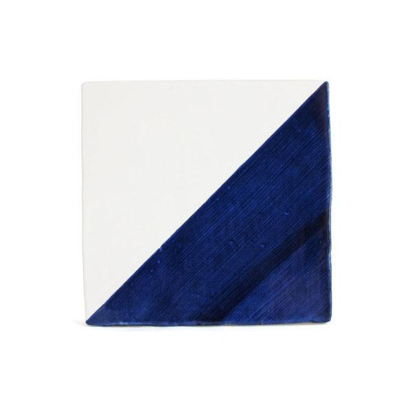 Baldosa cartabón pintada a mano azul cobalto BC 001-D140