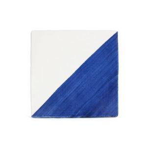 Baldosa cartabón pintada a mano azul cobalto BC 002-D130