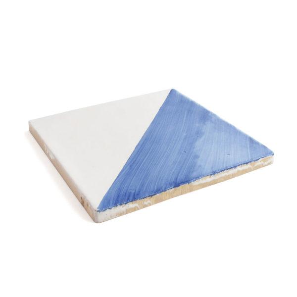 Baldosa cartabón pintada a mano azul cobalto BC 003-D123