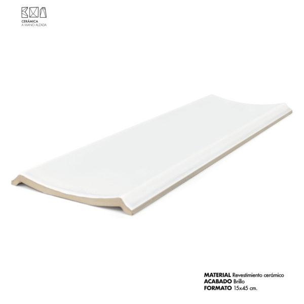 escocia cerámica grande 15x45 cm blanco brillo